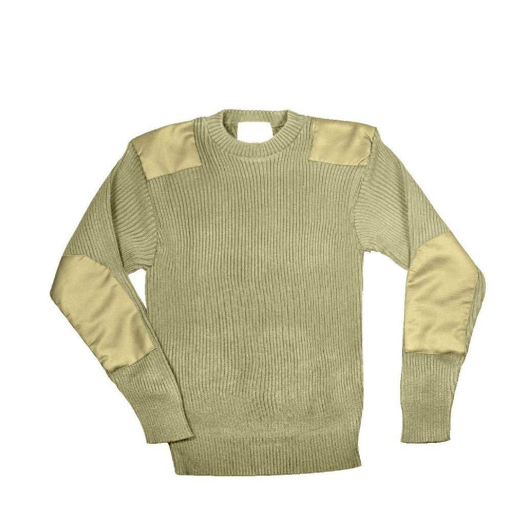 BlackC Sport Khaki Military Army Commando Crew Neck Acrylic Sweater