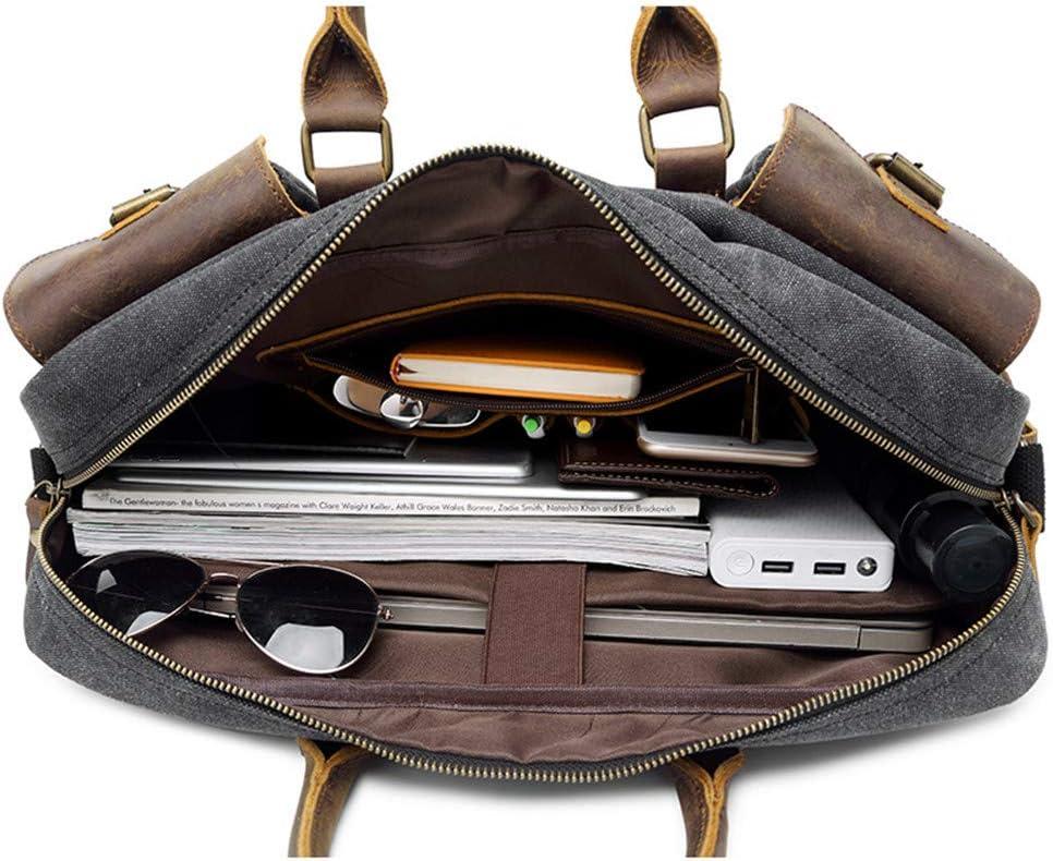 Zhouminli Vintage Leather Tote Briefcase Briefcase Canvas Mens Travel Messenger Bag Shoulder BagHandbag Cross Section Mens Bag