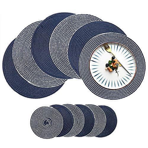 (Round Placemats and Coasters Set of 6, HiiARug 4 Colors Cotton Round Table Mats with Coasters for Kitchen Dining Table)