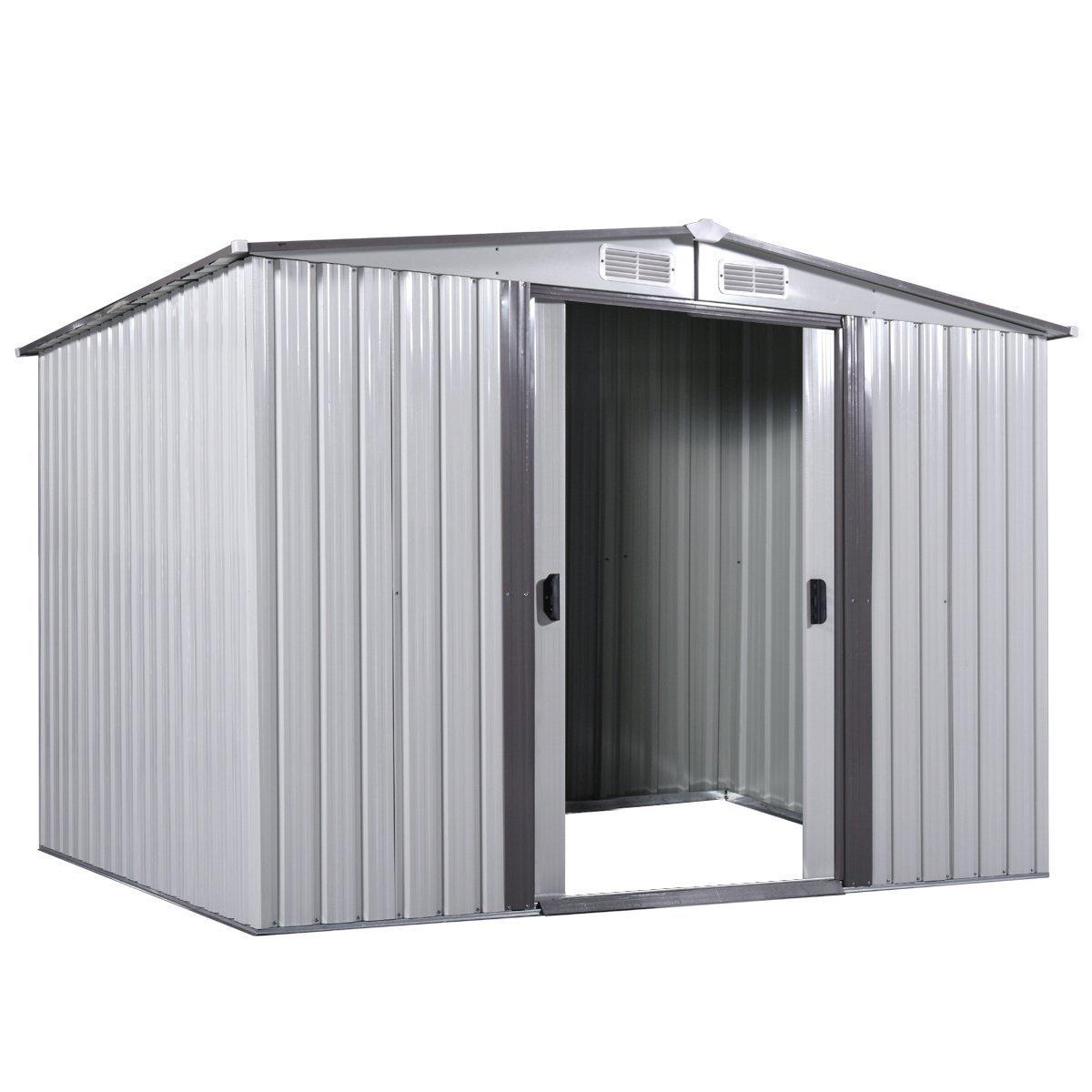 LAZYMOON 6' x 8' Outdoor Steel Garden Utility Tool Shed Storage Backyard Lawn Building Garage Sliding Door (6' x 8')