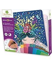 Sycomore-CRE7009 Mosaici autoadesivi per Bambini-5 Quadri Sogni incantati-attività Creativa-Stick & Fun-A Partire dai 5 anni-Sycomore-CRE7009, Multicolore, CRE7009