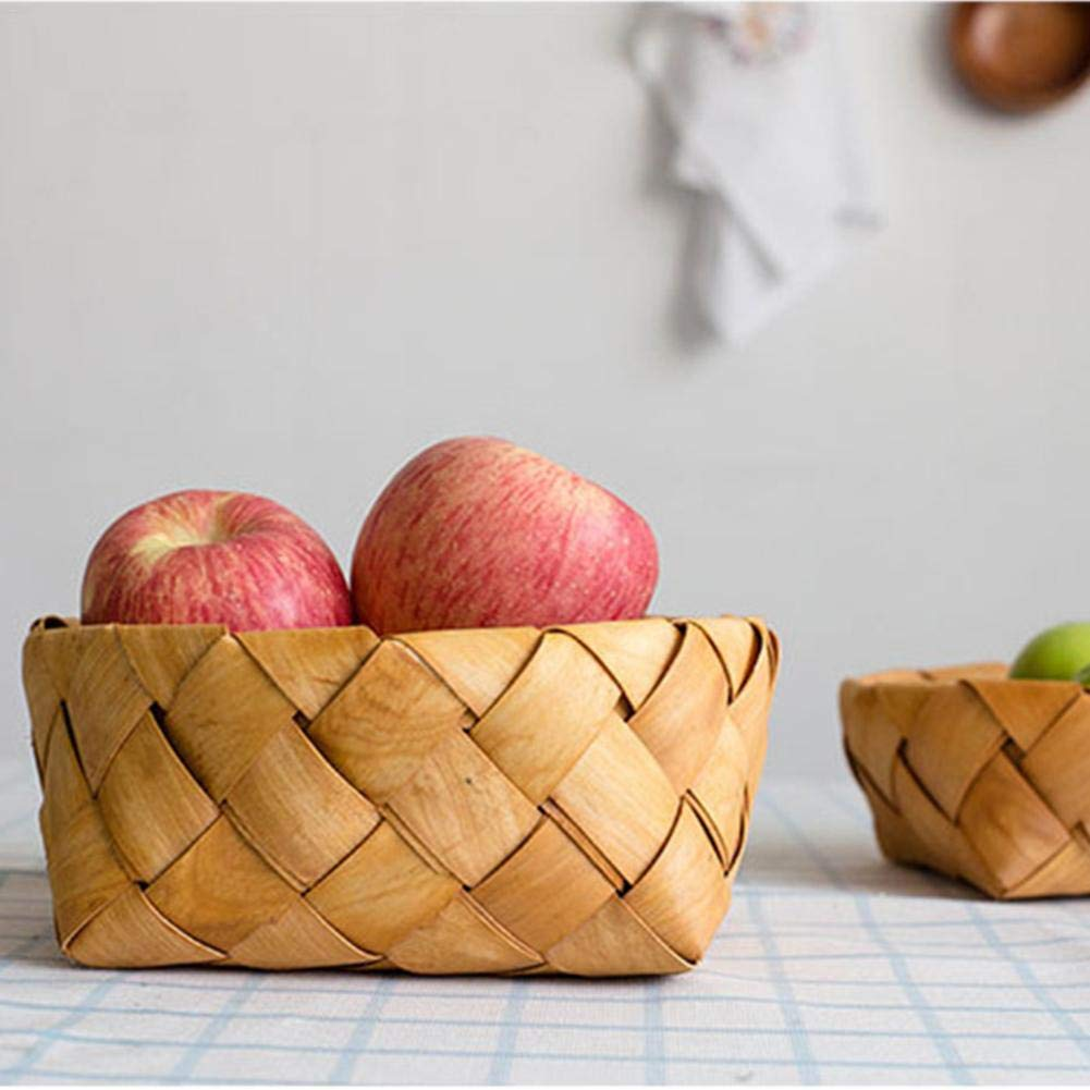 TUANMEIFADONGJI Copeaux de Bois Faits /à la Main Panier de Rangement tiss/é Panier /à Fruits Accessoires de Cuisine Panier /à Manger Panier de Pique-Nique,Panier de Rangement en Paille Vintage