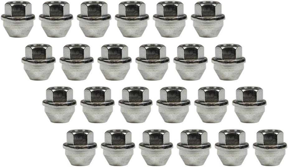 24 Nuts 14mm 1.50 Thread Pitch 1.20 Long 21mm Hex With Lip For Factory Centre Caps Open-end Ford Style Cone Seat Lug Nut Installation Kit