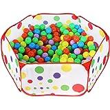 Piscine à Balles pour Enfants,HTINAC Tente Pour Enfant Pliable Portable Hexagonal Aire de Jeux Piscine à Balles avec Sac de Rangement Rouge(1m, océan piscine, pas de balles)