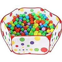 HTINAC Piscine à Balles pour Enfants, Tente pour Enfant Pliable Portable Hexagonal Aire de Jeux Piscine à Balles avec Sac de Rangement Rouge(1m, océan Piscine, Pas de balles)