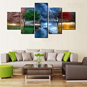 TOPJPG Canvas Wall Art Painting Pictures Decorative Four Seasons Trees Decoration Wall Decor Bathroom Living Room Bedroom Kitchen Framed Ready to Hang
