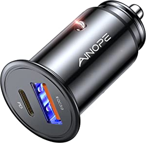 Car Charger USB C, AINOPE USB C Car Charger PD&QC 3.0 Car Charger Fast Charge Adapter [Super Mini] Compatible with iPhone 12/Pro/Pro Max/Mini/11/XR/XS/X/8, Samsung S20/10/9, Note 20/10/9/8
