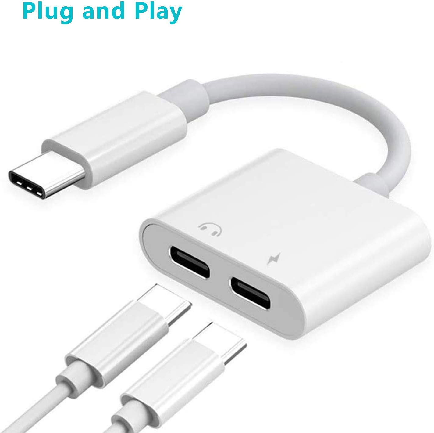 HEEWEEYOO 2 in 1 Type C Headphone Audio /& Charge Adapter USB C Splitter Audio and Charger Compatible with Google Pixel 2//2 XL//3//3 XL Samsung Galaxy Note 10//10 Plus//A80//A8S//S8//S9-White