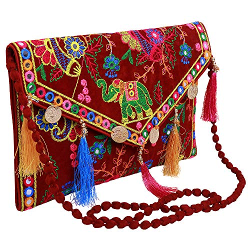 - Lonika Collections Hippie Handmade Elephant Sling Bag Foldover Clutch Purse For Women Maroon