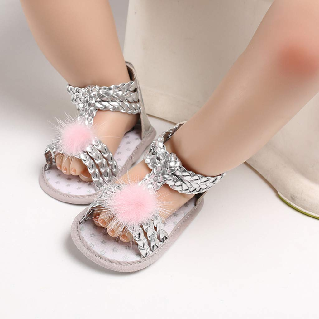 NUWFOR Infant Newborn Baby Girls Soft Sole Hair Ball Princess Shoes Sandals Gold,12~18 Month