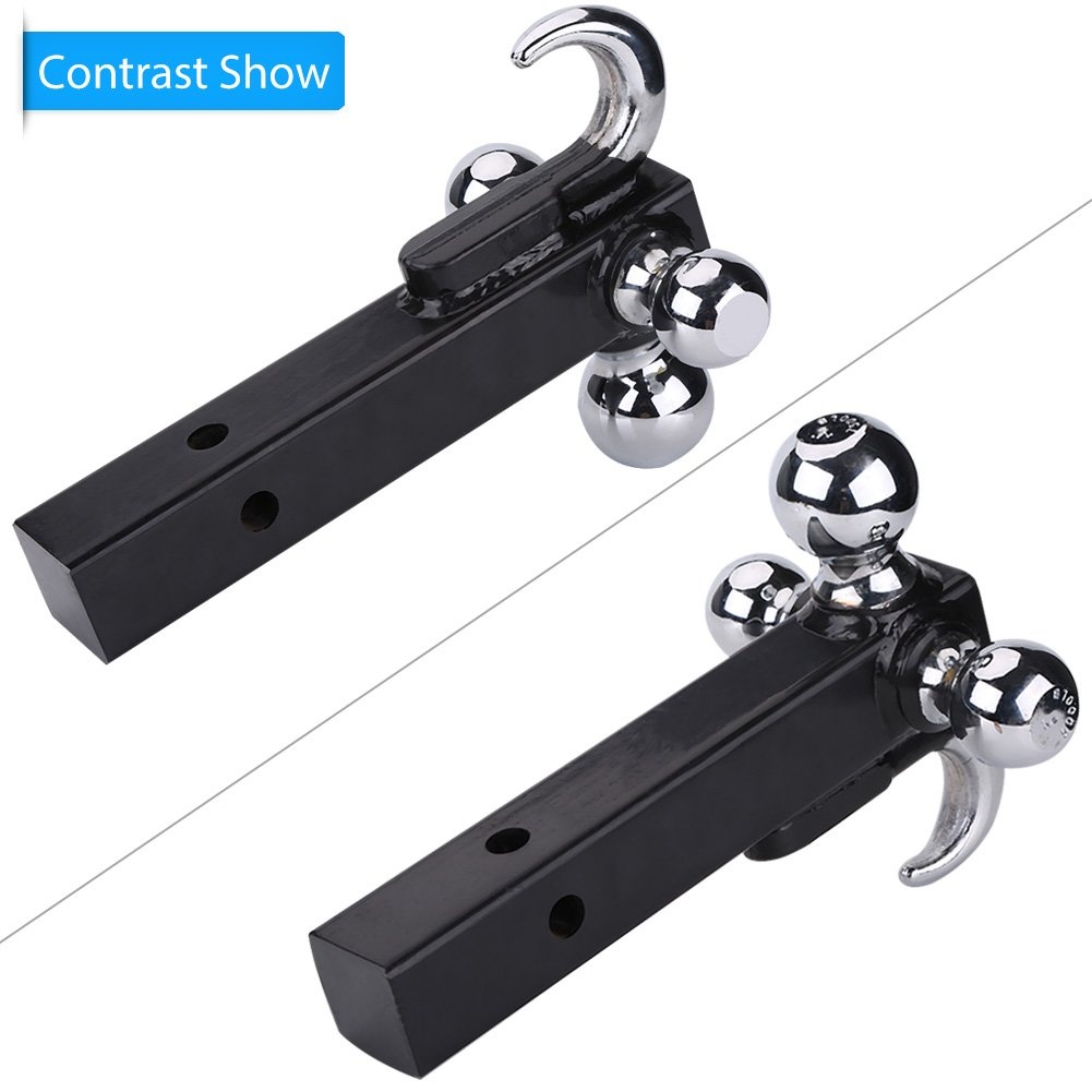 Tri Ball Hitch with Hook,3 Ball Trailer Hitch Heavy Duty Receiver Mount 1 7//8 2 2 5//16 Towing