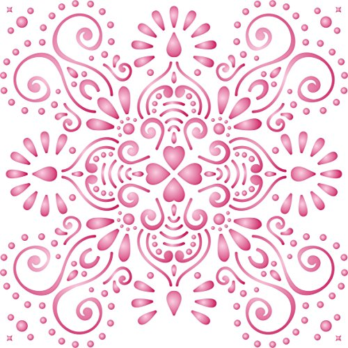 """Damask or Tile Stencil - (size 10.5""""w x 10.5""""h) Reusable Wall Stencils for Painting - Best Quality Template Allover Wallpaper ideas - Use on Walls, Floors, Fabrics, Glass, Wood, and More…"""