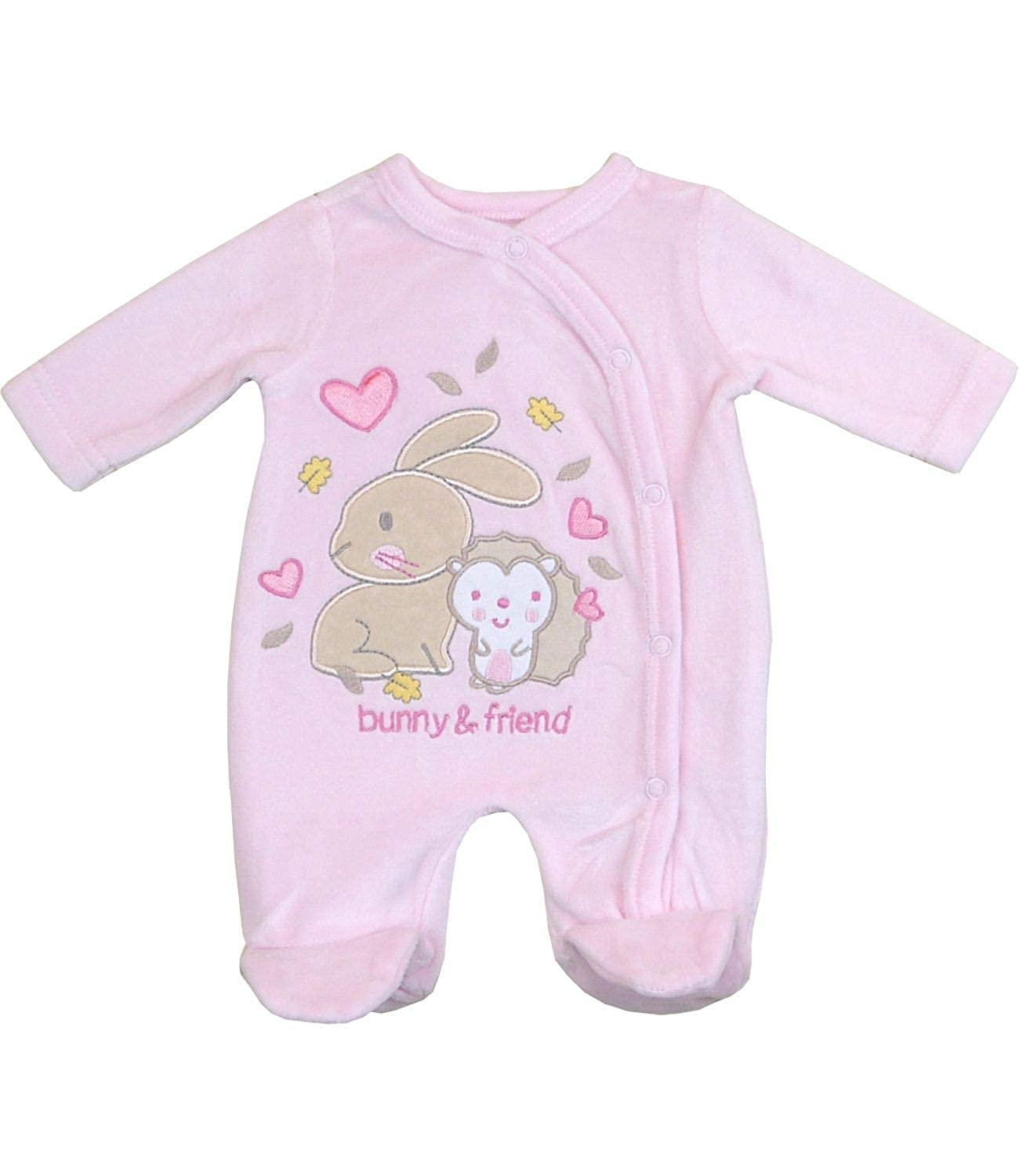 BabyPrem Preemie Baby Girls Sleeper Bunny /& Friend Pink Velour