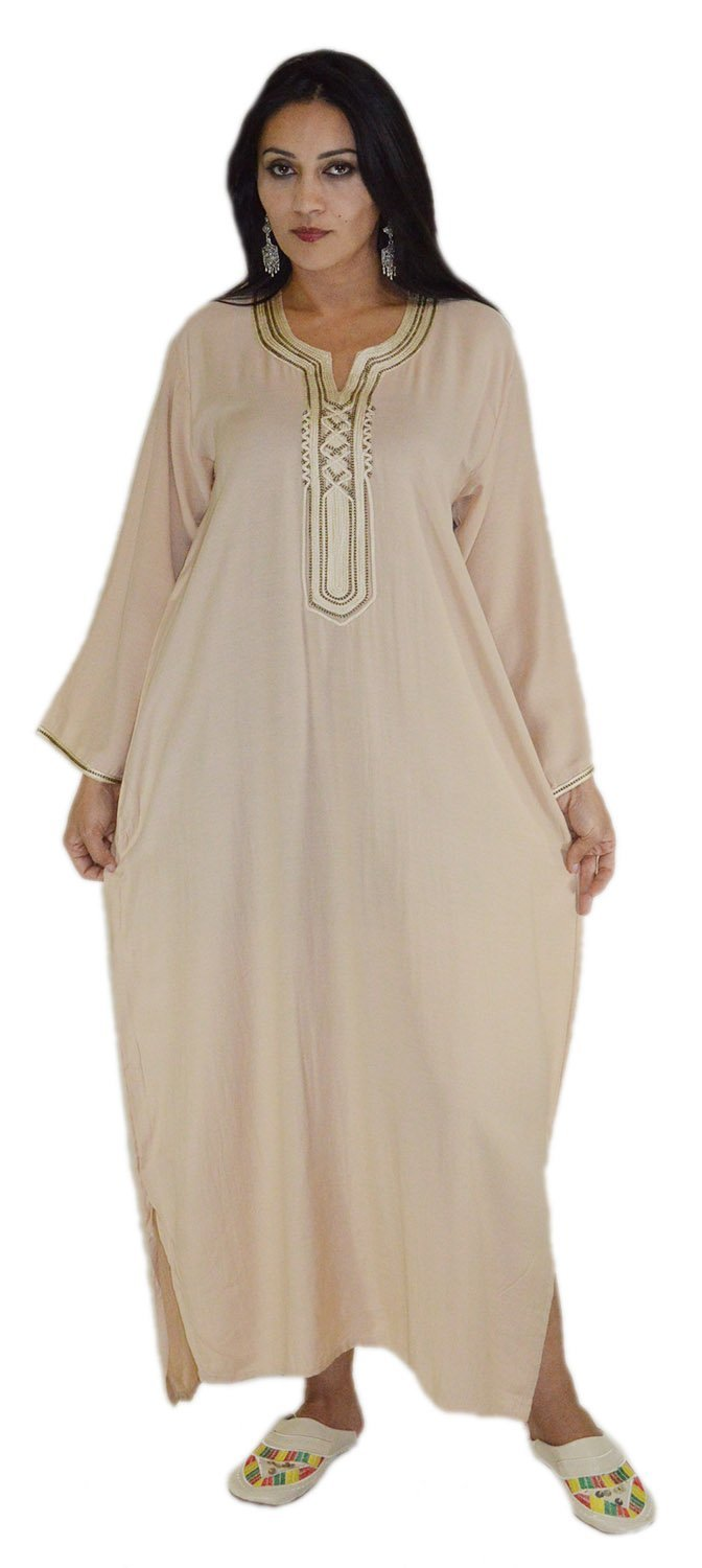 Moroccan Caftans Women Handmade with Embroidery Cotton Breathable Small to Large Beige Treasures Of Morocco Asmaa beige