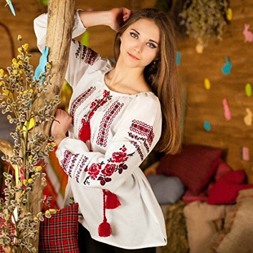 Folk *Handmade* Cotton Big Rose Shirt Vyshyvanka Ukrainian Traditional Women's Nice Embroidery Ornament *New* (M)