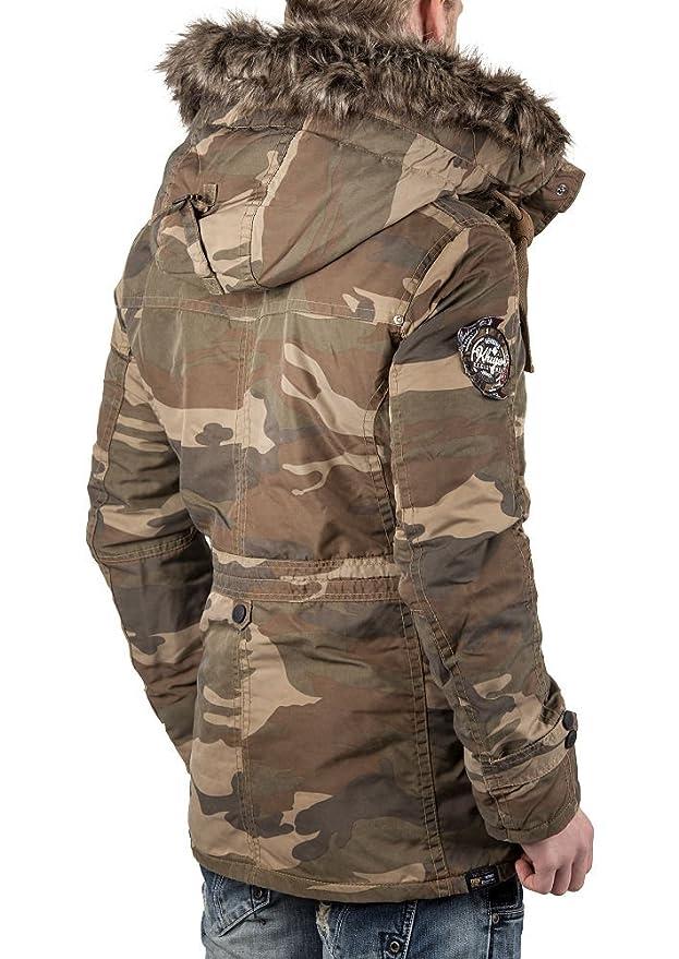 Khujo herren winterjacke joel oliv camouflage