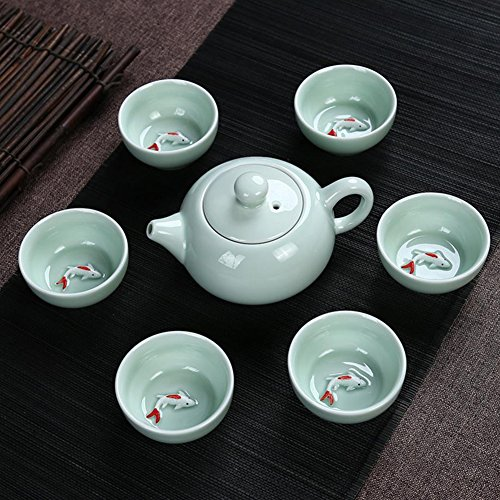 JKCOM Chinese Kung Fu Tea Set, Porcelain Handmade Ceramic Tea Service Fish Tea Cup (7)