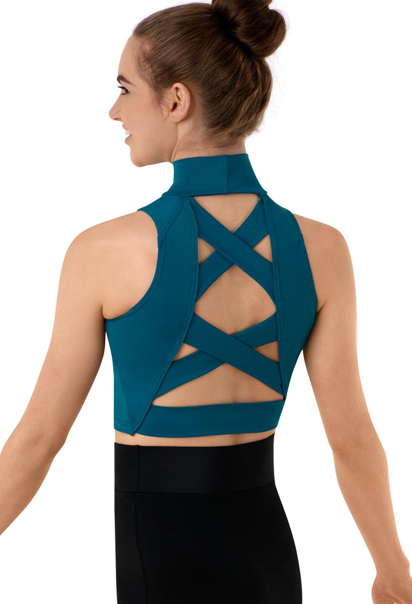 Balera Crop Top Girls Tank for Dance Sleeveless Mock Neck Midi Sports Bra with Strappy Back Criss Cross Straps Dark Teal Child Medium by Balera