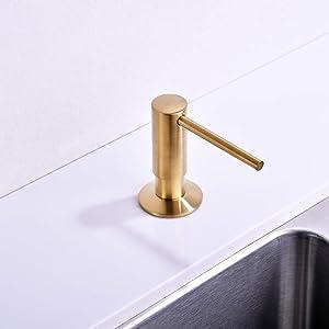 Brushed Gold Soap Dispenser for Kitchen Sink,Avola Commercial Grade Liquid Dish Dispensers Pump,Gold Built In Kitchen Sink Soap Dispenser,Brushed Brass Lotion Dispenser