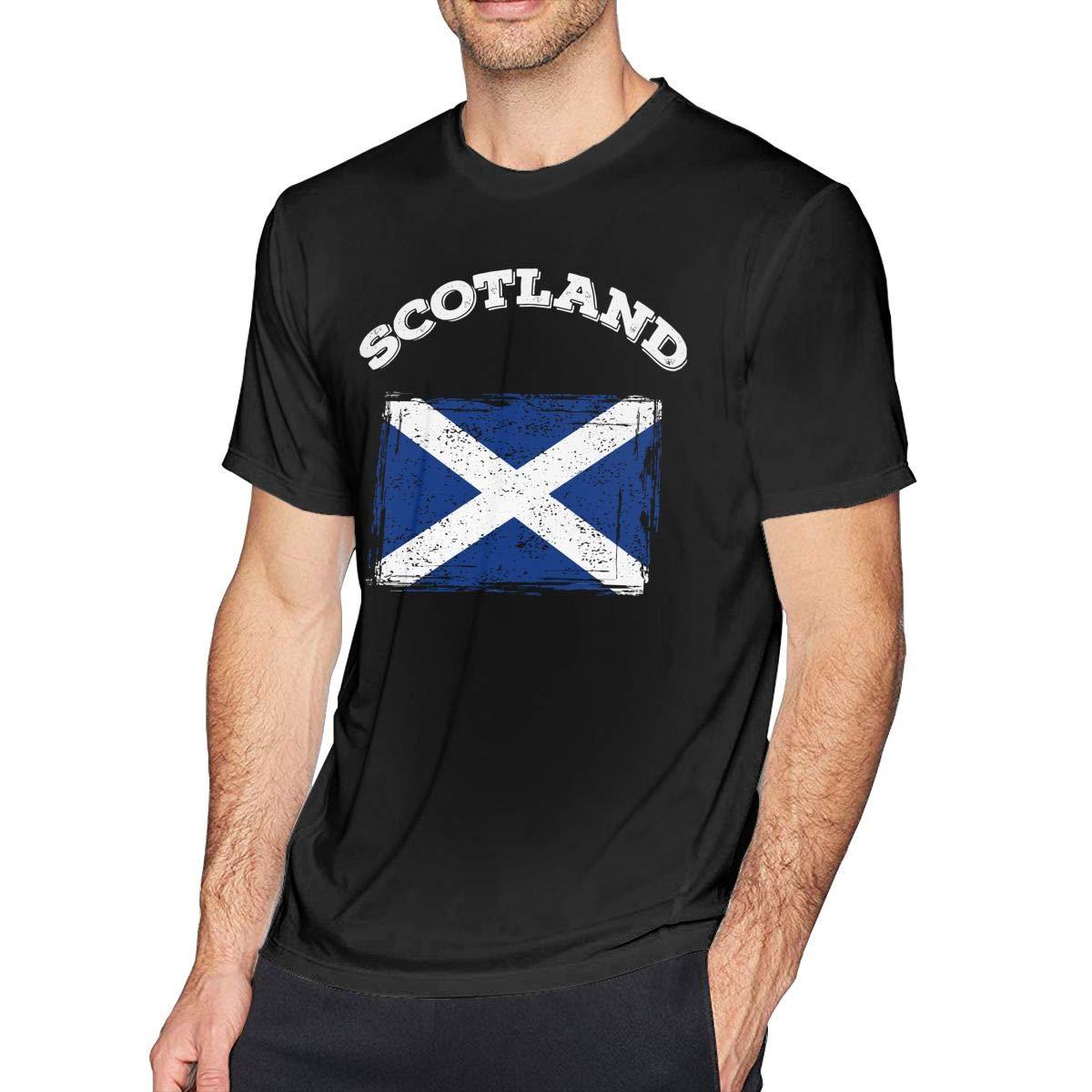COLLS8 Mens Scotland Flag Short Sleeve T-Shirt Essential Shirt for Summer Sport Gym