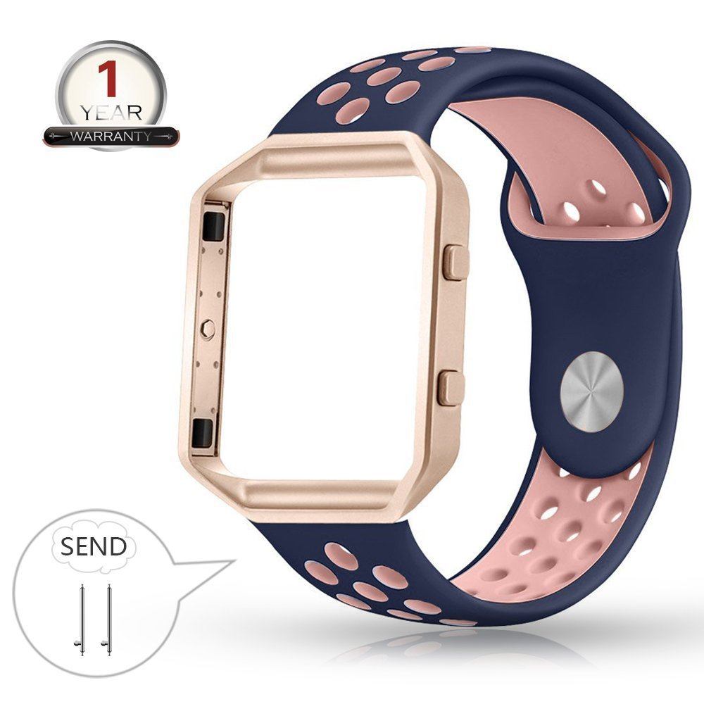 Youkex for Fitbit Blaze Bands Silicone with Frame,Small Breathable Sport Replacement Strap with Rose Gold Metal Case for Smart Fitness Watch Women Men (Blue/Pink+Rose ,Small Size)