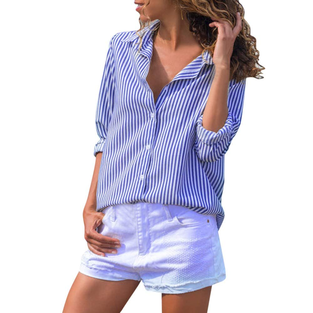 Maonet Women's Button Striped Casual Top T Shirt Ladies Loose Long Sleeve Top Blouse (L, Blue)