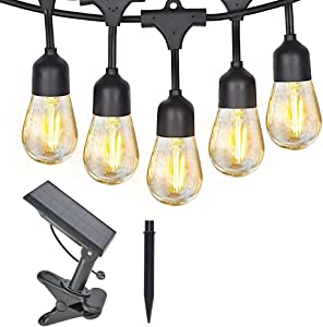SHISOP 48FT Solar String Lights, 3w LED Outdoor Cafe String Light, Shatterproof Patio Lights 15 Bulbs for Bistro Garden, Backyard Party Commercial Decor, Warm White