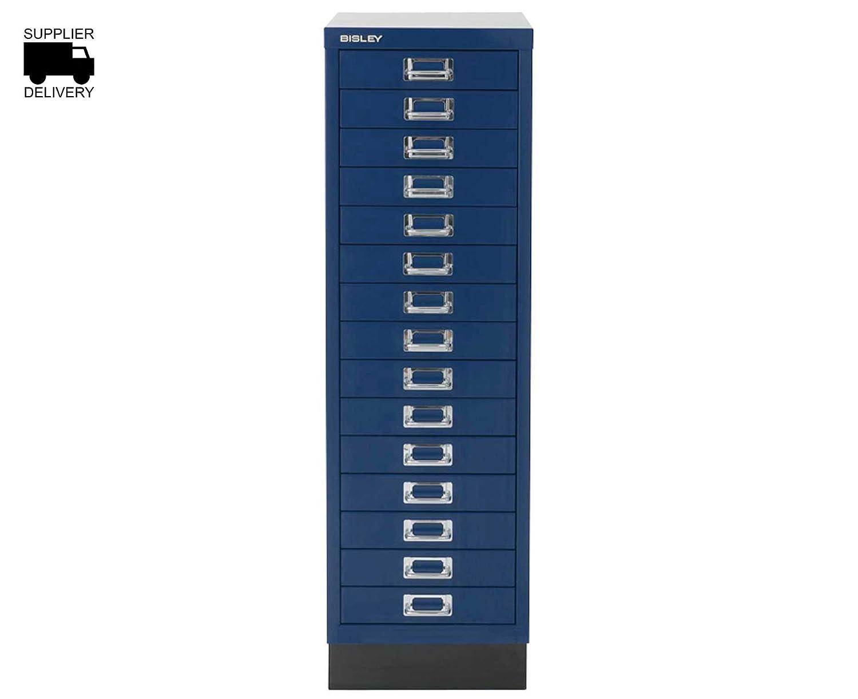 Bisley Storage Cabinet 15 Drawer H860xW279xD380mm Steel - color  Oxford blueee