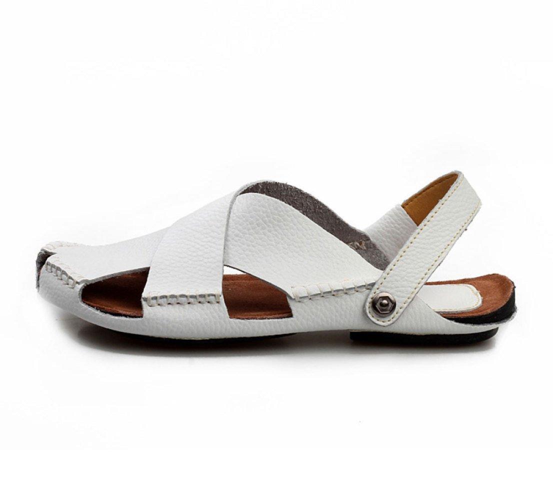 Zapatos De Playa De Los Hombres del Verano Zapatillas Antideslizantes Ocasionales Sandalias De Costura Hechas A Mano Respirables 38 EU|White