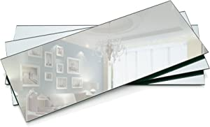 Rectangle Mirror Tray - Mirrors Glass Plates - 5 x 12 inch with 2 mm Round Edge - Great as Wedding and Party Table Centerpieces, Candle Plate Holder, Wall Decor. (Set of 6)