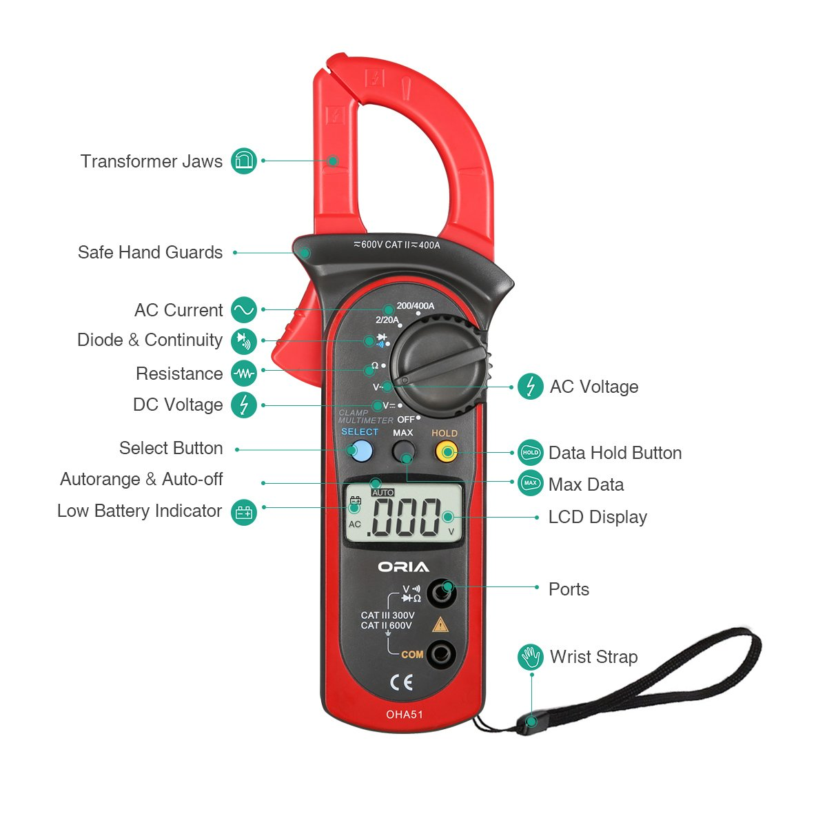Digital Handheld Clamp Multimeters, Auto-Ranging Multimeter AC/DC Voltmeter with Voltage, AC Current, Amp, Volt, Ohm, Tests Diodes and Resistance Test ...