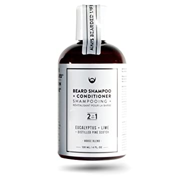 2-in-1 Beard Shampoo and Conditioner: Eucalyptus + Lime with Distilled Pine  Scotch - 4 oz  Rich