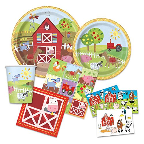 FAKKOS Design Farm Party Supplies - Farm Animal Themed Paper Plates, Napkins, Cups & Table Cover for 16 Guests -