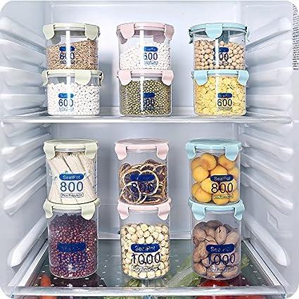 3 pcs plástico seco alimentos Harina de cereales dispensador de almacenamiento Caja de frutos secos contenedor