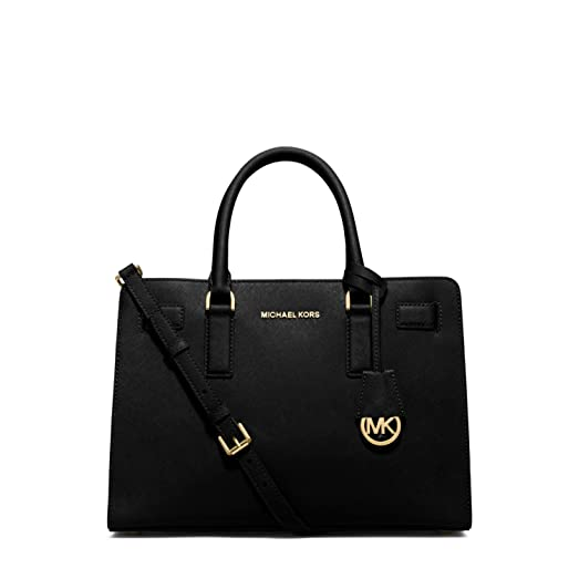40864c021222 ... wholesale michael michael kors dillon east west saffiano leather satchel  handbag in black gold f1a3e 13bfd