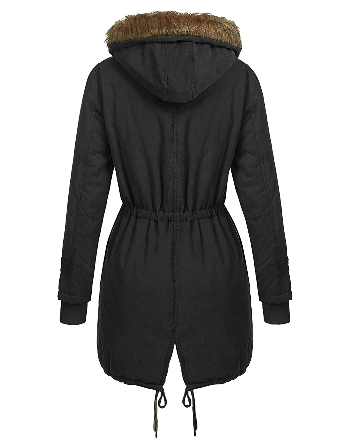 Beyove Womens Winter Parka Coat Faux Fur Hooded Parka Coat with Two Front Pockets Black XX-L