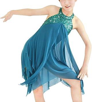 2d6446dc8b0e iiniim Children Girls Lyrical Dance Dress Leotard Ballet Modern  Contemporary Dancing Costume Sequins Criss Cross Back