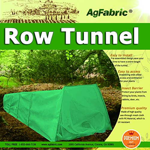 Grown Tunnel For Plants with Dark Green Fleece Cover Guard Seed Germination & Frost Protection Cover,Plant Cover &Frost Blanket for Season Extension, Large 10ft Longx25''Widex20''High by RowTunnel