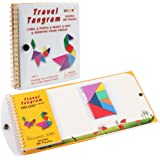 Coogam Magnetic Travel Tangram Puzzles Book Game Tangrams Jigsaw Shapes Dissection with Solution for Kid Adult Traveler Challenge IQ Educational Toy (360 Patterns)