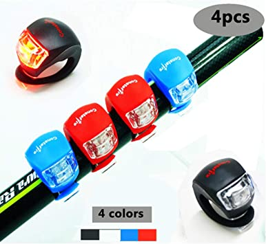 4 Piezas LED Clip-On Silicon Band Luces de Bicicleta Lámpara Luz ...