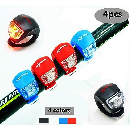 4 Piezas LED Clip-On Silicon Band Luces de Bicicleta Lámpara Luz ...