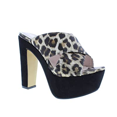 Moca Mid High Heel Women's Casual Faux Suede & Leather /w Multi Strap Leopard Print Design Madden-82