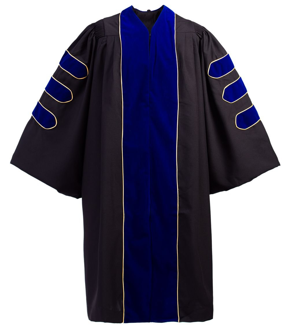 GraduationForYou Doctoral Gown with Royal Blue Velvet Gold Piping,Royal Blue,54''(5'9''-5'11'')