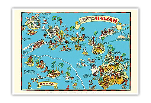 Samoa Map - Map of The Territory of Hawaii - American Samoa - Pictorial Map - Vintage Illustrated Map by Ruth Taylor White c.1935 - Master Art Print - 13 x 19in