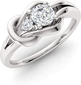 Diamondere Natural and Certified Gemstone and Diamond Engagement Ring in 14K White Gold   0.25 Carat Infinity Knot Ring Size 4 to 9