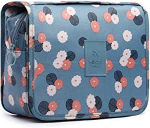 HaloVa Toiletry Bag Multifunction Cosmetic Bag Portable Waterproof Travel Hanging Organizer Bag for Women Girls Blue Flowers