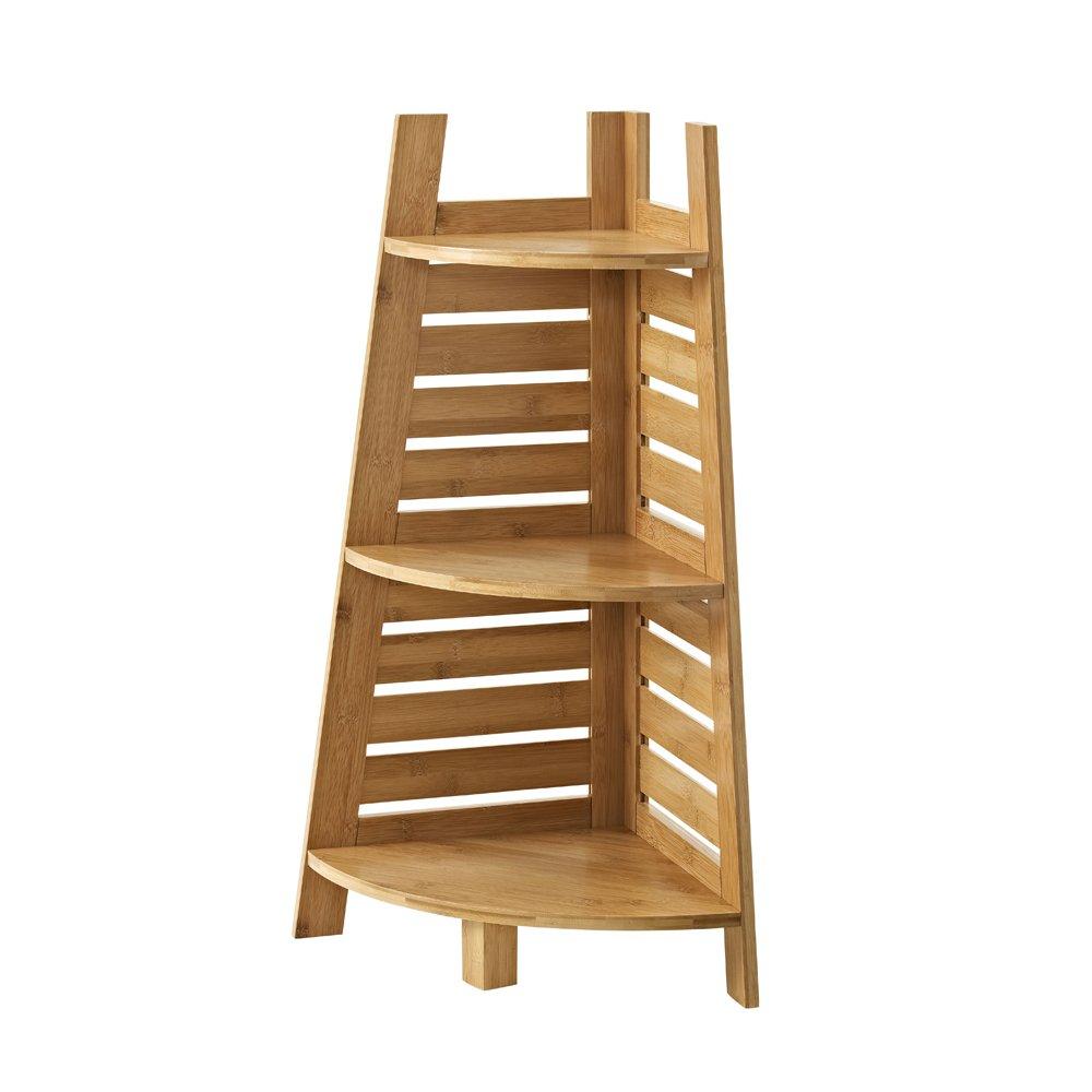 Linon Amzn0326 Finn Bamboo Bathroom Corner Shelf, Brown
