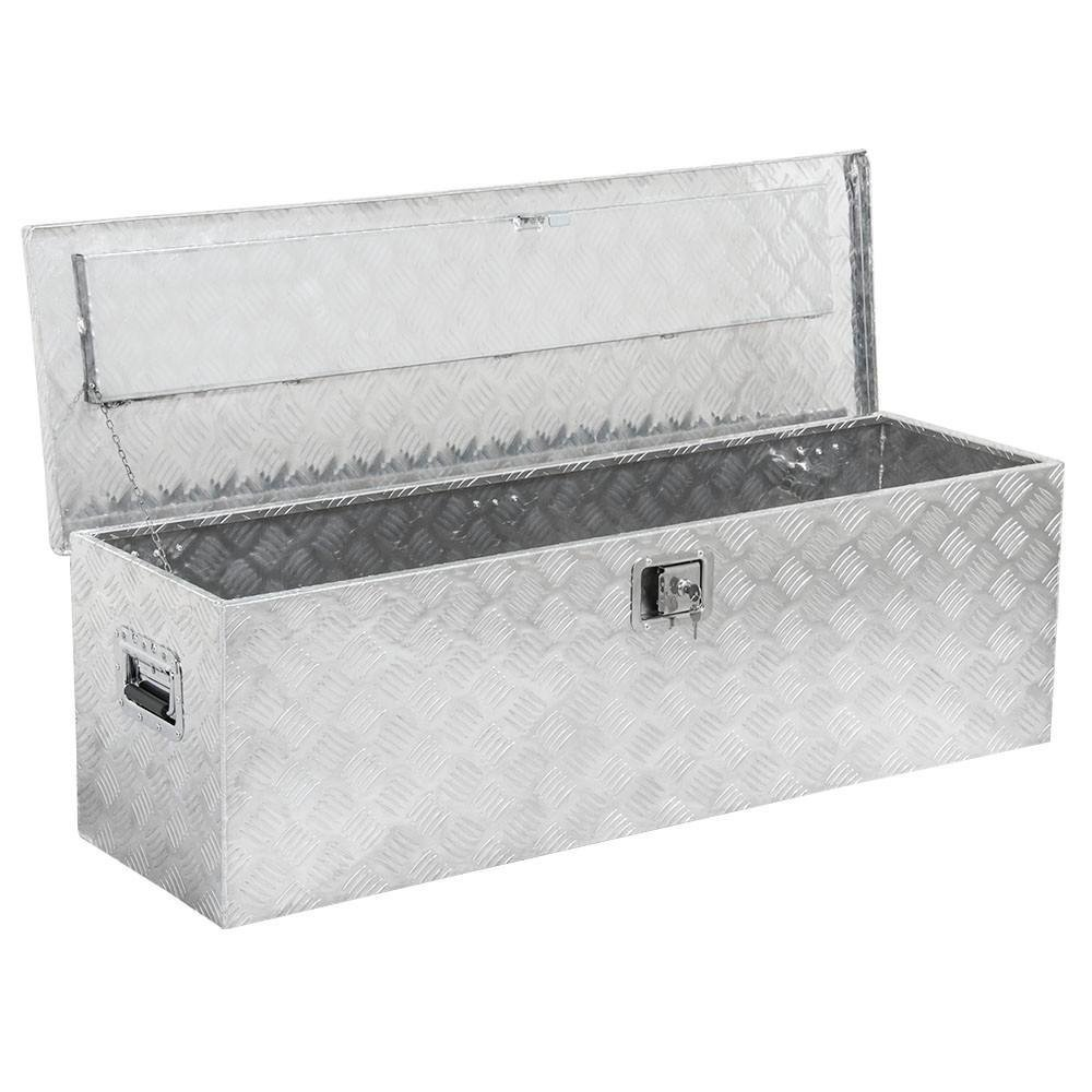 """go2buy 49"""" Rectangular Aluminum Tool Box for Pickup Truck/Trailer Underbody Storage Toolbox with Lock Silver"""