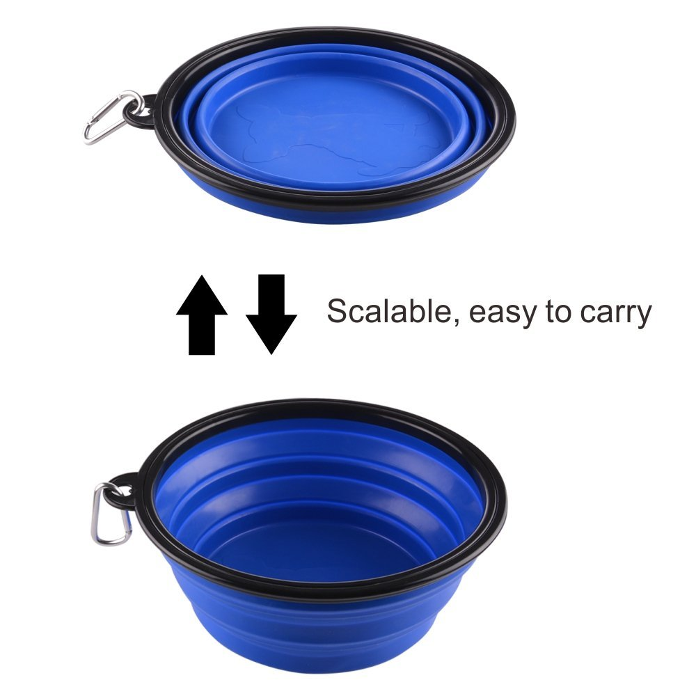 Guardians Extra Large Collapsible Dog Bowl, 102oz Portable Foldable Water Bowls Food Dishes with Carabiner Clip for Travel (Blue)