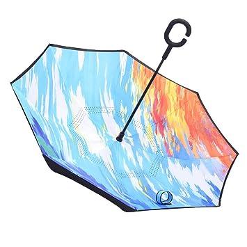 YF Outdoor Diseños exquisitos Azules creativos Capa Doble Paraguas a Prueba de Viento del Revés Viaje